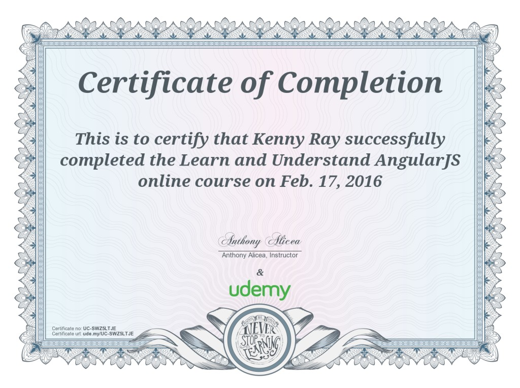 AngularJS certificate of completion